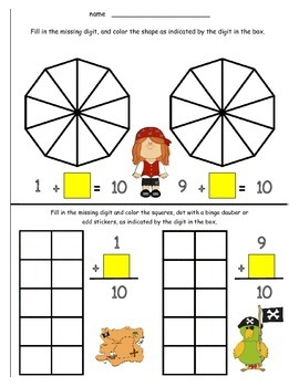 Math Addition Combinations of 10 - Pirates