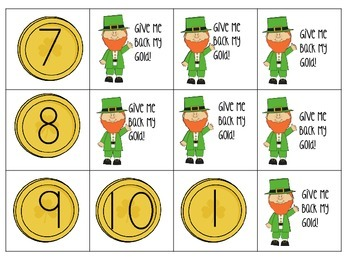 Combinations of 10 St. Patricks Addition/Decomposing Game