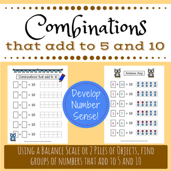 Combinations of 10 and 5 with ten frames by Sandra Balisky | TpT