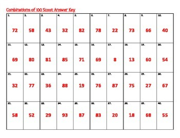 Combinations of 100 Scoot or Task Cards