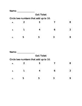 Combinations of Ten Exit Ticket
