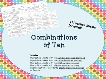 Combinations of ten/ complements of 10 math work