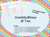 Combinations of ten/ complements of 10 math work