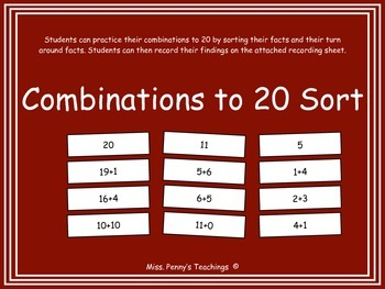 Combinations to 20 Fact Sort