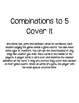 Combinations to 5 Cover It