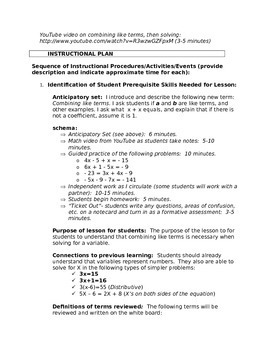 Combine Like Terms Lesson plan