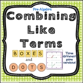 Combining Like Terms Review Activity Pre-Algebra Game