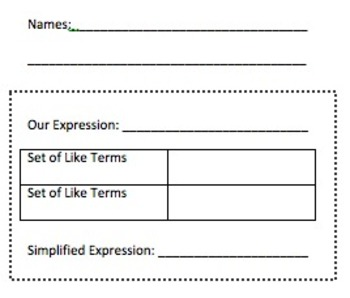 Combine Like Terms Activity and Notes