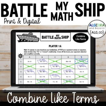 Combine Like Terms - Battle My Math Ship Activity