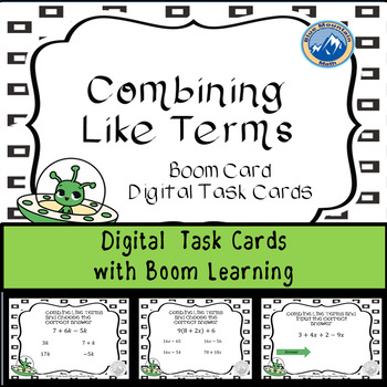 Combine Like Terms Digital Task Cards--Boom Cards