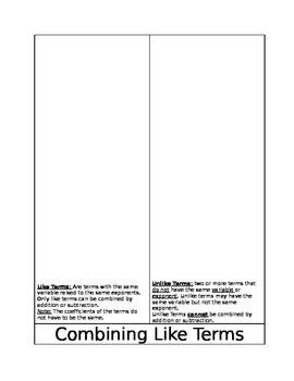 Combine Like Terms Foldable