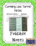 Combine Like Terms Foldable