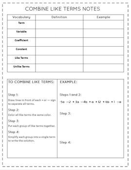 Combine Like Terms Graphic Organizer