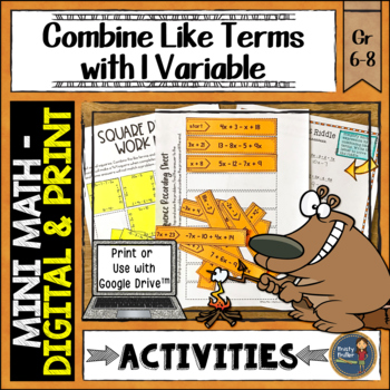 Combining Like Terms Math Activities Puzzles and Riddle