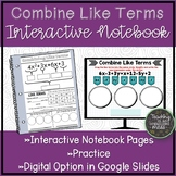 Combine Like Terms Math Notebook Page