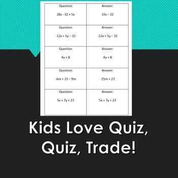 Combine Like Terms-Quiz, Quiz, Trade