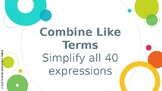 Combine Like Terms Task Cards