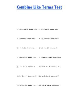 Combine Like Terms Test