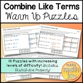 Combine Like Terms Warm Up Puzzles