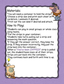 Combine Like Terms Don't Get ZAPPED Math Game