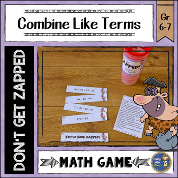 Combining Like Terms Don't Get ZAPPED Math Game