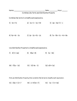 Combine Like Terms and Distributive Property Worksheet by Mrs A