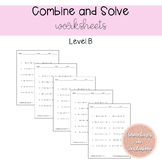 Combine Like Terms and Solve Worksheets - Level B