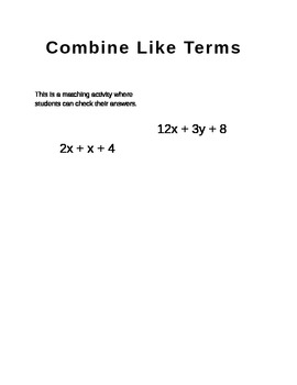 Combine Like Terms (matching)