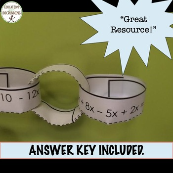 Combine Like terms Linear Expressions Paper Chain Activity