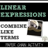 Combining Like terms Linear Expressions Paper Chain Activity
