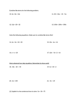 Combine like terms with Equations Worksheet