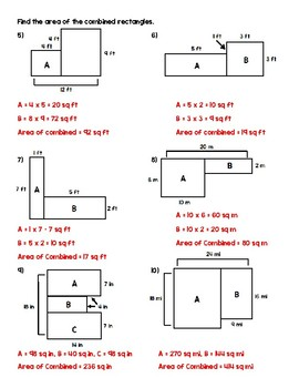 Combined Area Worksheet for Beginners