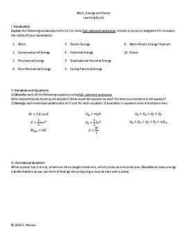 Circular Motion, Energy, and Momentum Learning Guides (3)