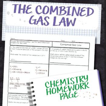 Combined Gas Law Chemistry Homework Worksheet