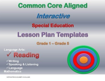 Combined Grades 1-5 Common Core Special Education  Lesson Plan Templates
