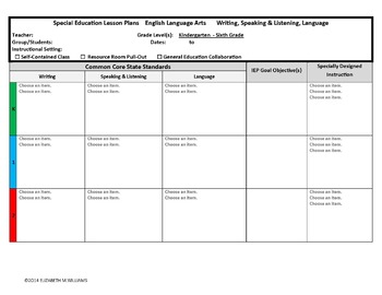 Combined K-6 Common Core Special Education Interactive Lesson Plan Templates