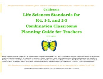 Combined Life Science Content Standards for Combination Teachers K-3