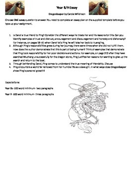 Combined year 8/9 Essay Dragonkeeper Carole Wilkinson