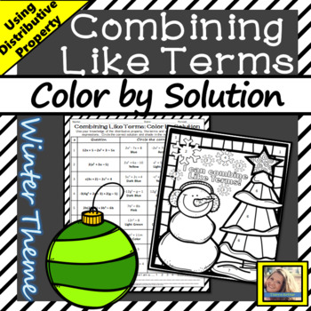 Combining Like Terms Worksheet Color by Solution