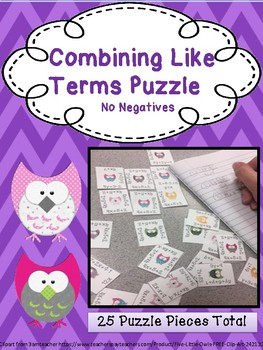 Combining Like Terms Puzzle: No Negatives