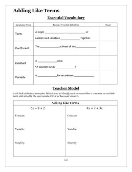 Adding Like Terms - Seventh Grade Guided Notes Packet