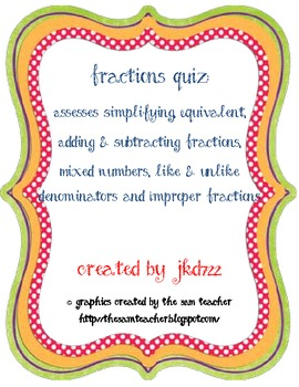 Combining Fractions Assessment
