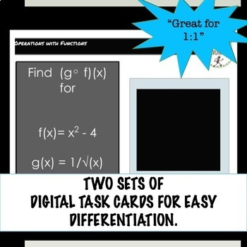 PreCalculus Combining Functions Digital Task Card Activity