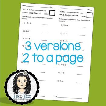 Adding / Subtracting Integers Assessment Quiz (3 Versions)