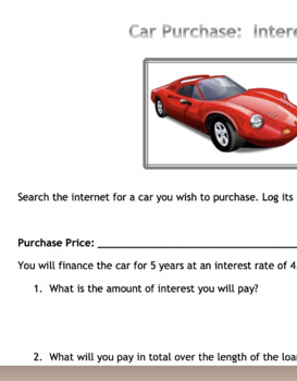 Let's Go Car Shopping: Calculating Interest and Monthly Payments