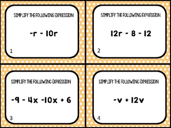 Combining Like Term Task Cards (24 Cards)