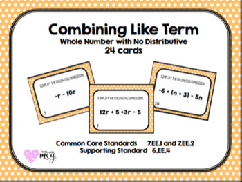 Simplifying Expressions (Combine Like Term) Worksheet (24 problems)