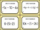 Combining Like Term with Distribution Task Cards (24 Cards)