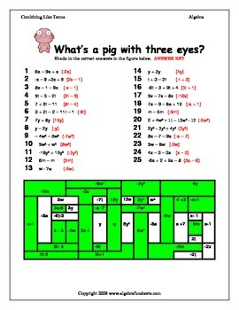Combining Like Terms Coloring Riddle Worksheet