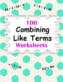 Combining Like Terms Worksheets